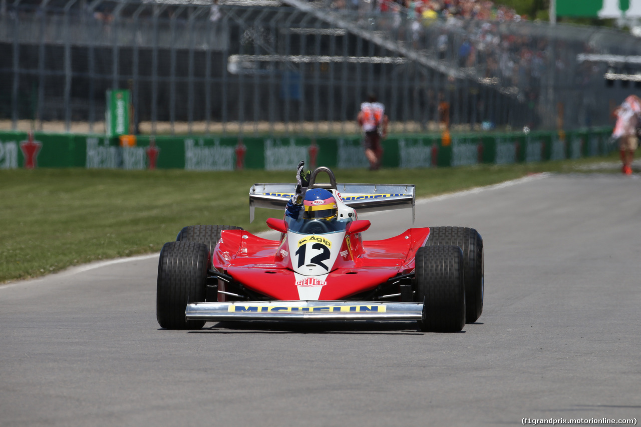 GP CANADA, 10.06.2018- Jaques Villeneuve (CAN) drive his father Gilles' Ferrari 1978 312 T3