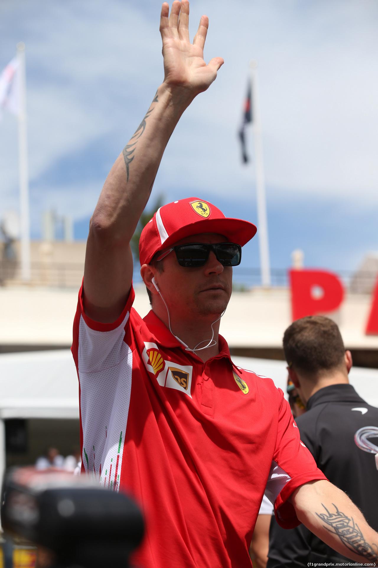 GP FRANCIA, 24.06.2018- Driver Parade, Kimi Raikkonen (FIN) Ferrari SF71H