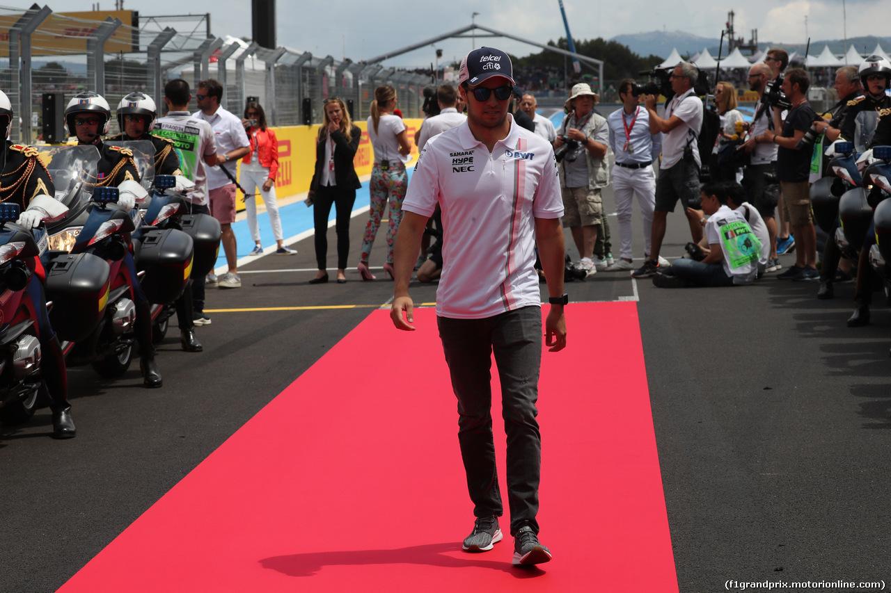 GP FRANCIA, 24.06.2018- Driver Parade, Sergio Perez (MEX) Sahara Force India F1 VJM11