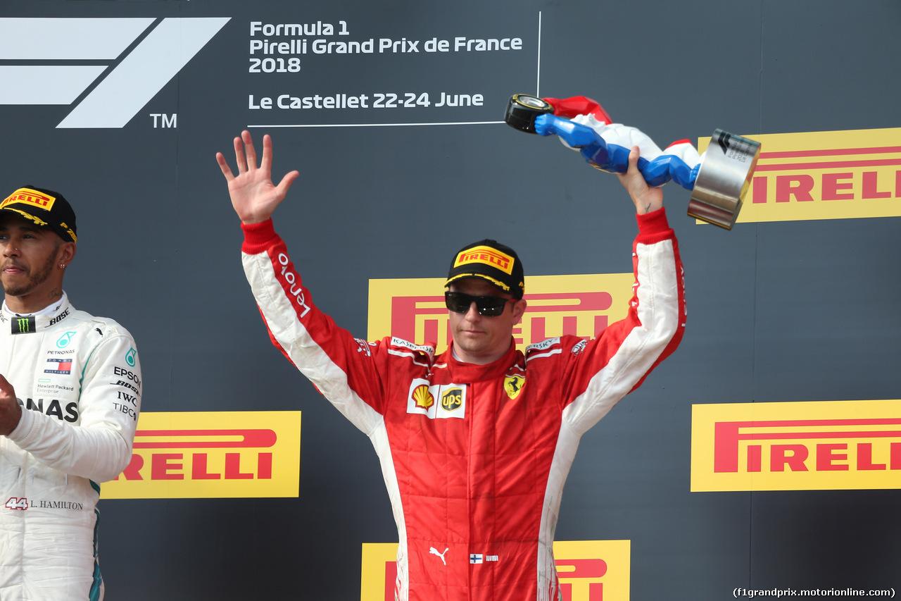 GP FRANCIA, 24.06.2018- Podium, 3rd place Kimi Raikkonen (FIN) Ferrari SF71H