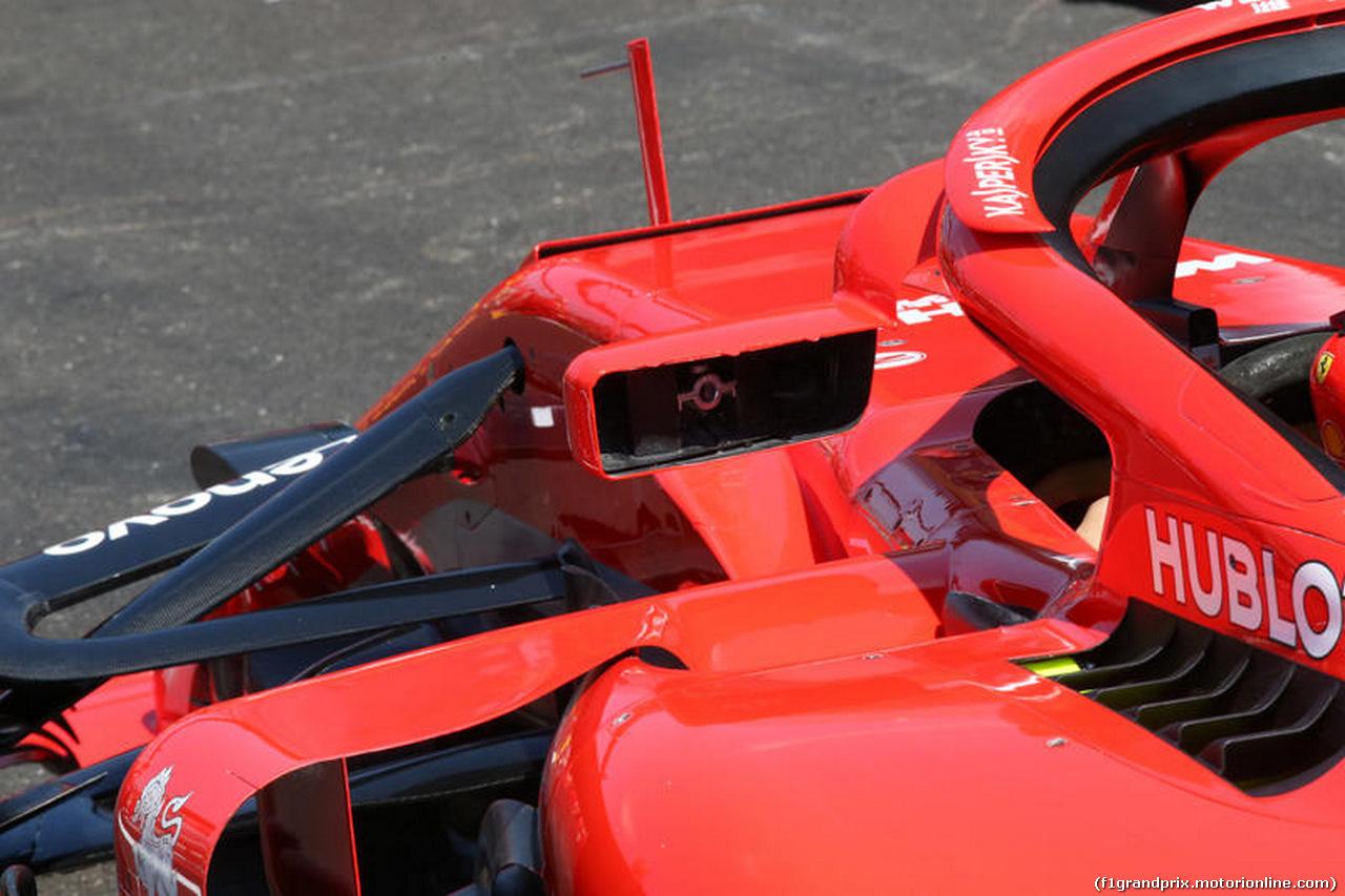 GP FRANCIA, 21.06.2018- Ferrari SF71H Haloand mirror detail
