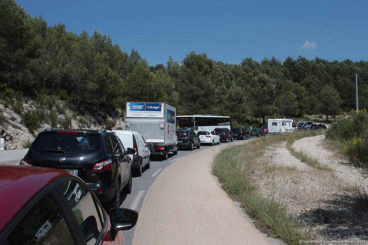 GP FRANCIA, 21.06.2018- Traffic Jam at the enter of the circuit