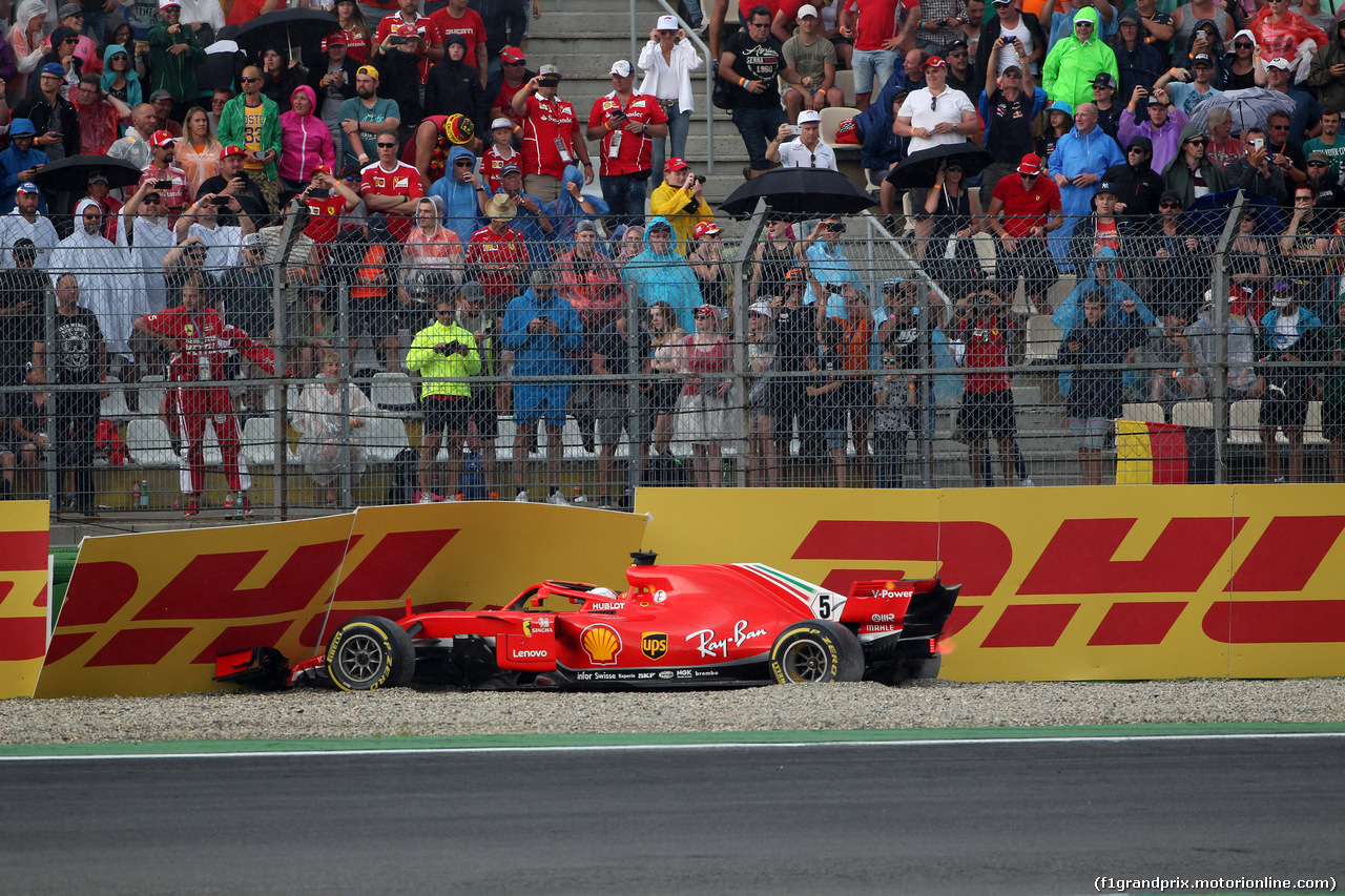 GP GERMANIA, 22.07.2018 - Gara, Crash, Sebastian Vettel (GER) Ferrari SF71H retires from the race