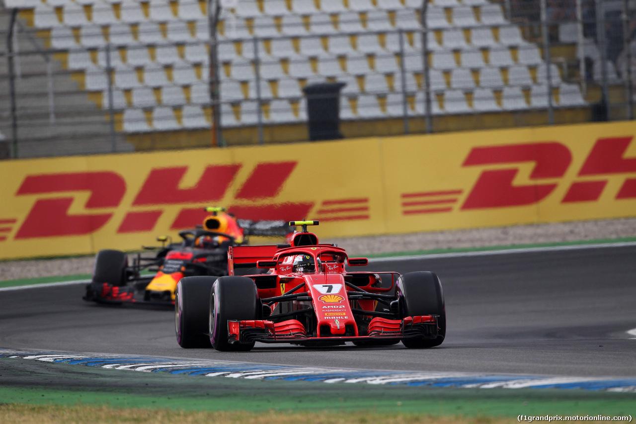 GP GERMANIA, 22.07.2018 - Gara, Kimi Raikkonen (FIN) Ferrari SF71H e Max Verstappen (NED) Red Bull Racing RB14