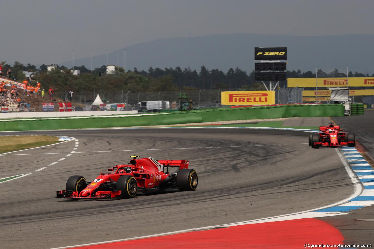GP GERMANIA, 22.07.2018 - Gara, Kimi Raikkonen (FIN) Ferrari SF71H e Sebastian Vettel (GER) Ferrari SF71H