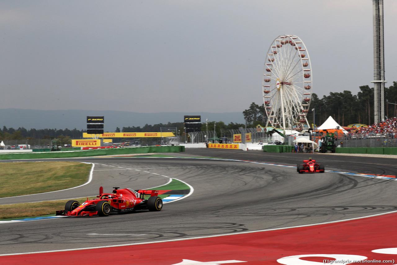 GP GERMANIA, 22.07.2018 - Gara, Sebastian Vettel (GER) Ferrari SF71H davanti a Kimi Raikkonen (FIN) Ferrari SF71H