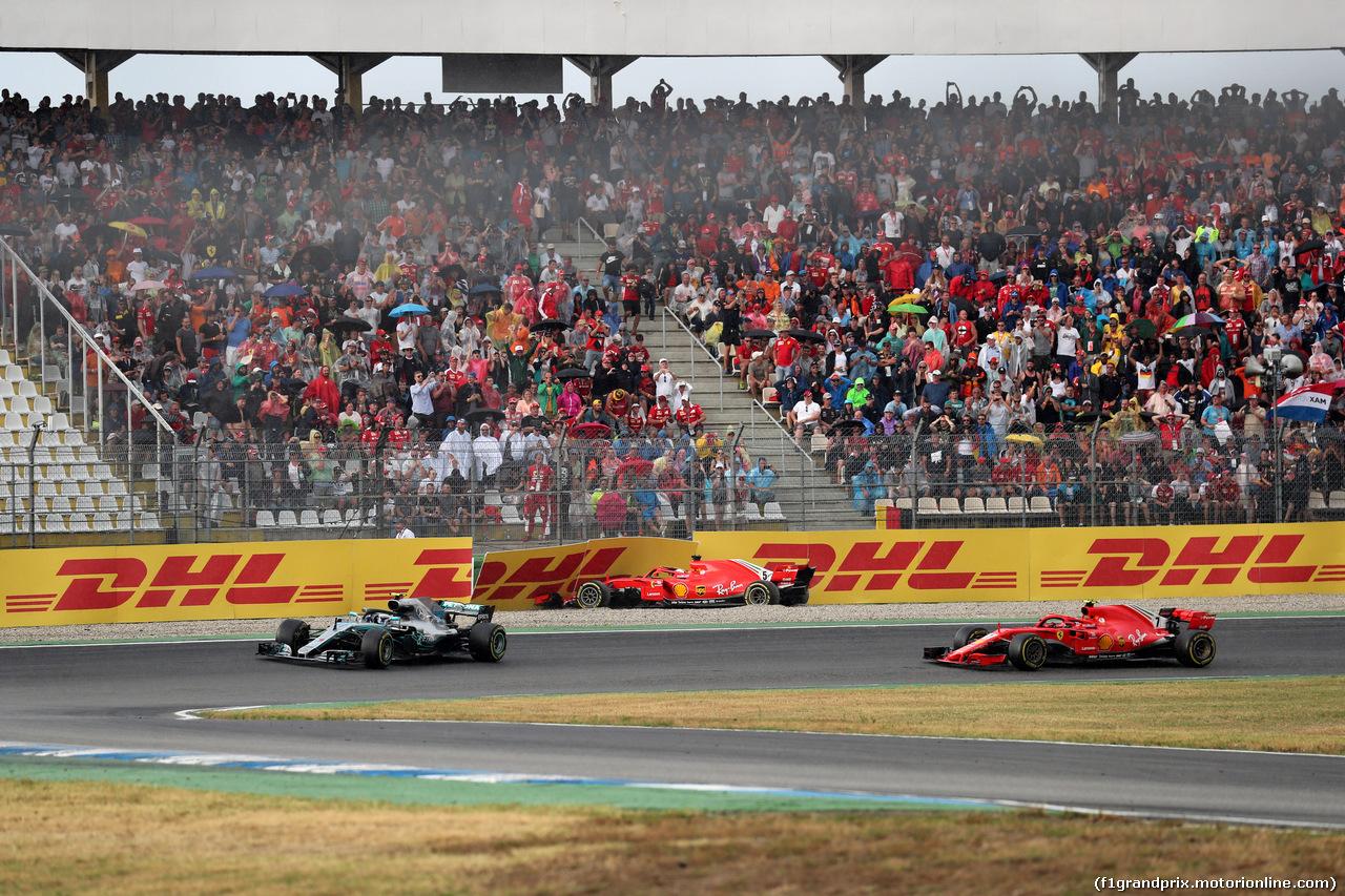 GP GERMANIA, 22.07.2018 - Gara, Valtteri Bottas (FIN) Mercedes AMG F1 W09, Sebastian Vettel (GER) Ferrari SF71H crashed e Kimi Raikkonen (FIN) Ferrari SF71H