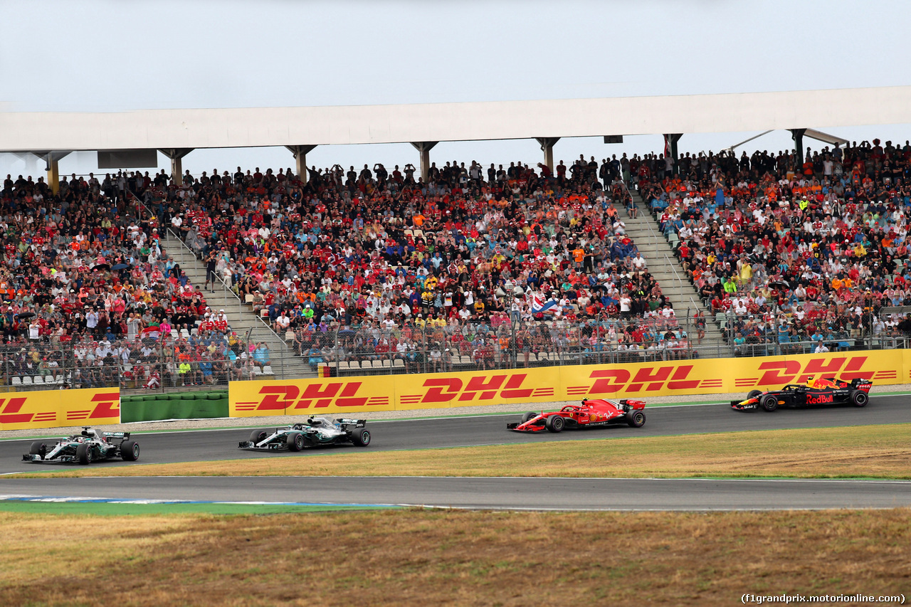 GP GERMANIA, 22.07.2018 - Gara, Lewis Hamilton (GBR) Mercedes AMG F1 W09, Valtteri Bottas (FIN) Mercedes AMG F1 W09, Kimi Raikkonen (FIN) Ferrari SF71H e Max Verstappen (NED) Red Bull Racing RB14