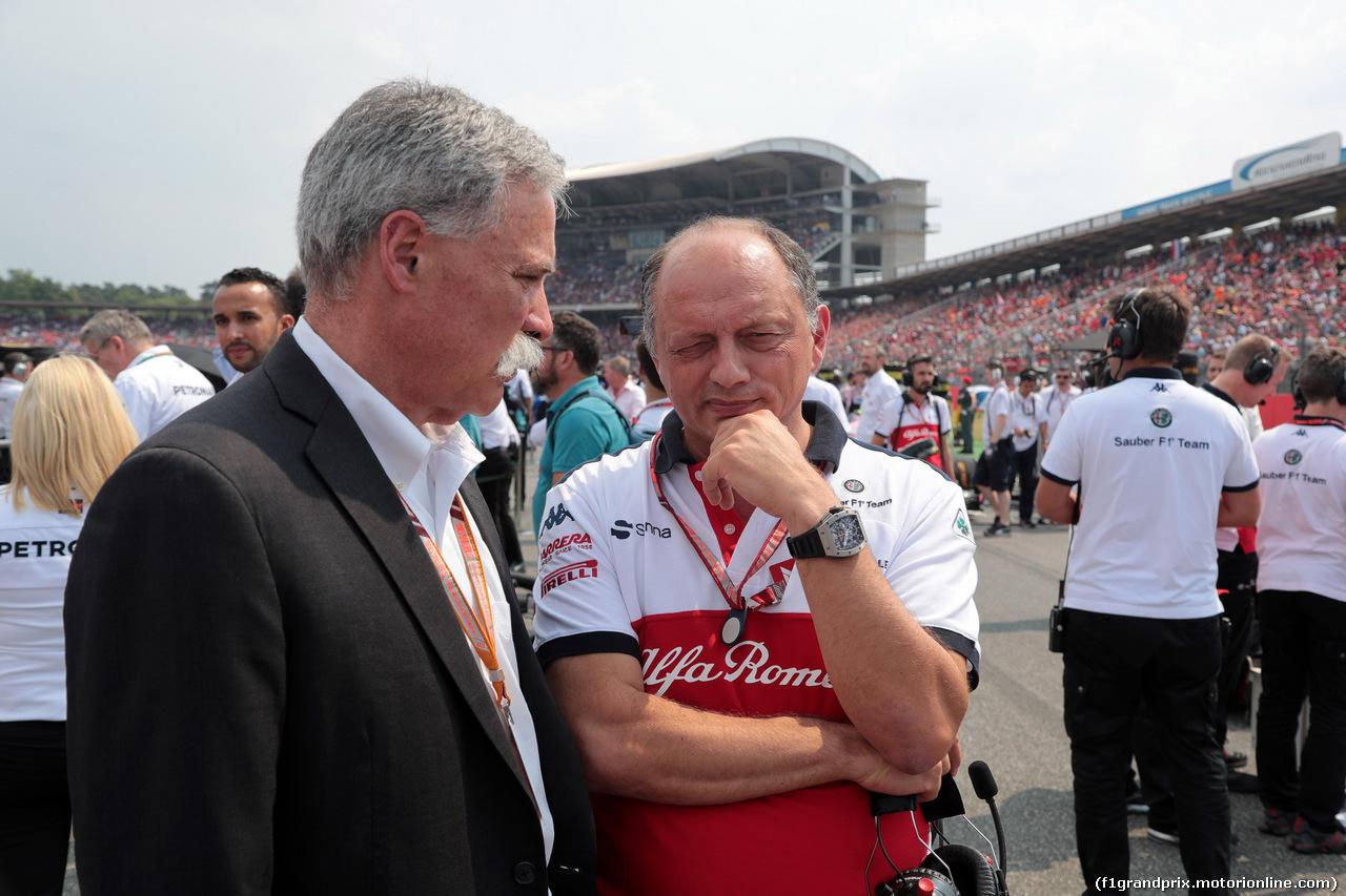 GP GERMANIA, 22.07.2018 - Gara, Chase Carey (USA) Formula One Group Chairman e Frederic Vasseur (FRA) Sauber Team Principal