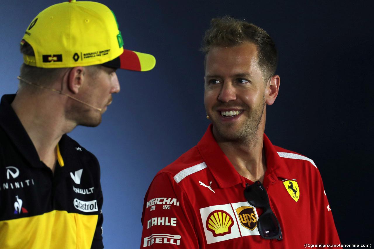 GP GERMANIA, 19.07.2018 - Conferenza Stampa, Nico Hulkenberg (GER) Renault Sport F1 Team RS18 e Sebastian Vettel (GER) Ferrari SF71H