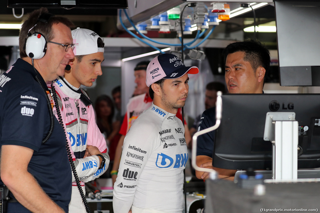 GP GERMANIA, 21.07.2018 - Prove Libere 2, Esteban Ocon (FRA) Sahara Force India F1 VJM11 e Sergio Perez (MEX) Sahara Force India F1 VJM011