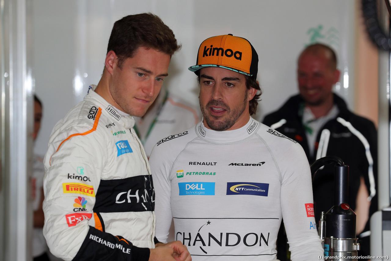 GP GERMANIA, 21.07.2018 - Prove Libere 2, Stoffel Vandoorne (BEL) McLaren MCL33 e Fernando Alonso (ESP) McLaren MCL33