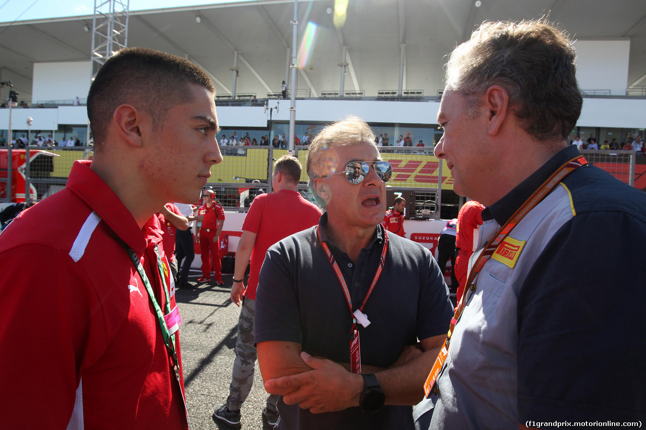 GP GIAPPONE, 07.10.2018 - Gara, Giuliano Alesi (FRA) Trident e his father Jean Alesi (FRA) with Mario Isola (ITA), Pirelli Racing Manager