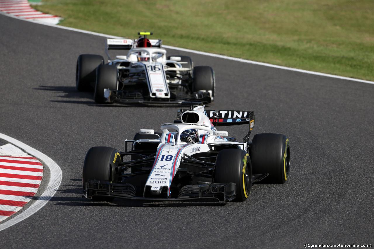 GP GIAPPONE, 07.10.2018 - Gara, Lance Stroll (CDN) Williams FW41 davanti a Charles Leclerc (MON) Sauber C37