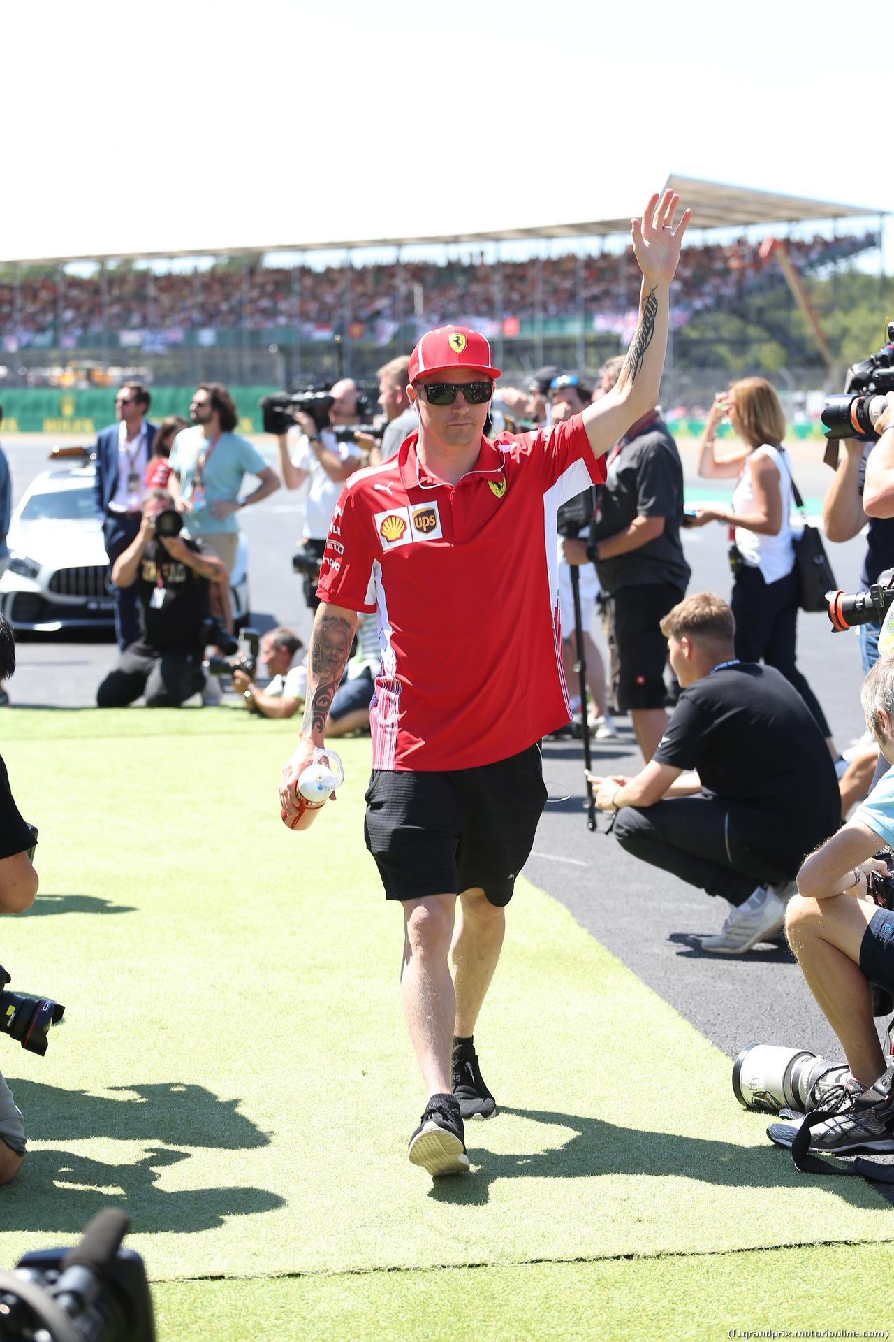 GP GRAN BRETAGNA, 08.07.2018- driver parade, Kimi Raikkonen (FIN) Ferrari SF71H