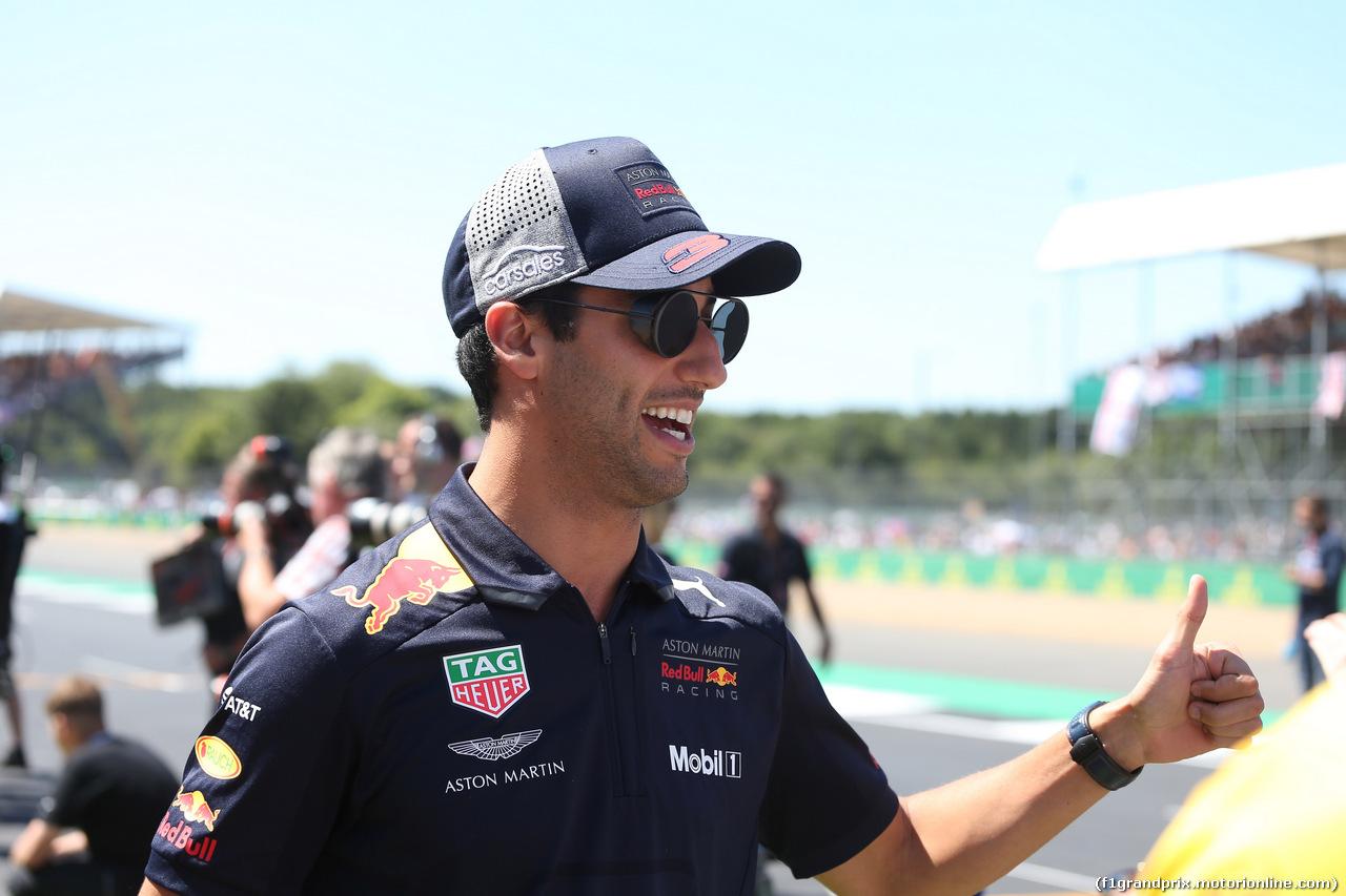 GP GRAN BRETAGNA, 08.07.2018- Driver parade, Daniel Ricciardo (AUS) Red Bull Racing RB14