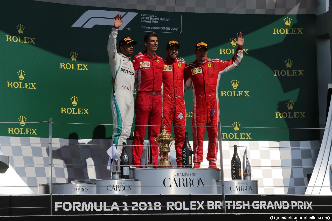 GP GRAN BRETAGNA, 08.07.2018- Podium, winner Sebastian Vettel (GER) Ferrari SF71H, 2nd place Lewis Hamilton (GBR) Mercedes AMG F1 W09, 3rd Kimi Raikkonen (FIN) Ferrari SF71H