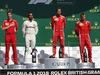 GP GRAN BRETAGNA, 08.07.2018- podium, Winner Sebastian Vettel (GER) Ferrari SF71H, 2nd place Lewis Hamilton (GBR) Mercedes AMG F1 W09 , 3rd place Kimi Raikkonen (FIN) Ferrari SF71H