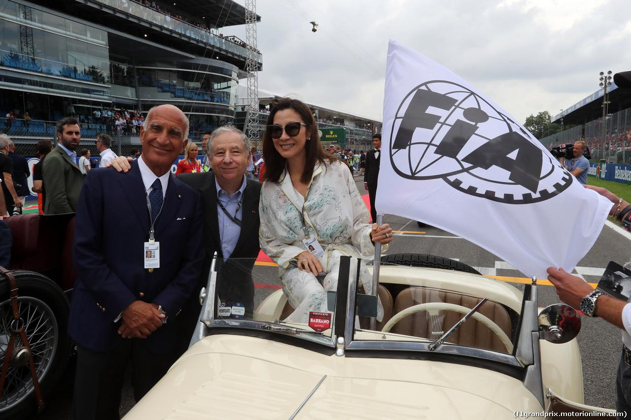 GP ITALIA, 02.09.2018 - Drivers parade, Dr. Angelo Sticchi Damiani (ITA) Aci Csai President, Jean Todt (FRA), President FIA e Michelle Yeoh, wife of Jean Todt (FRA)