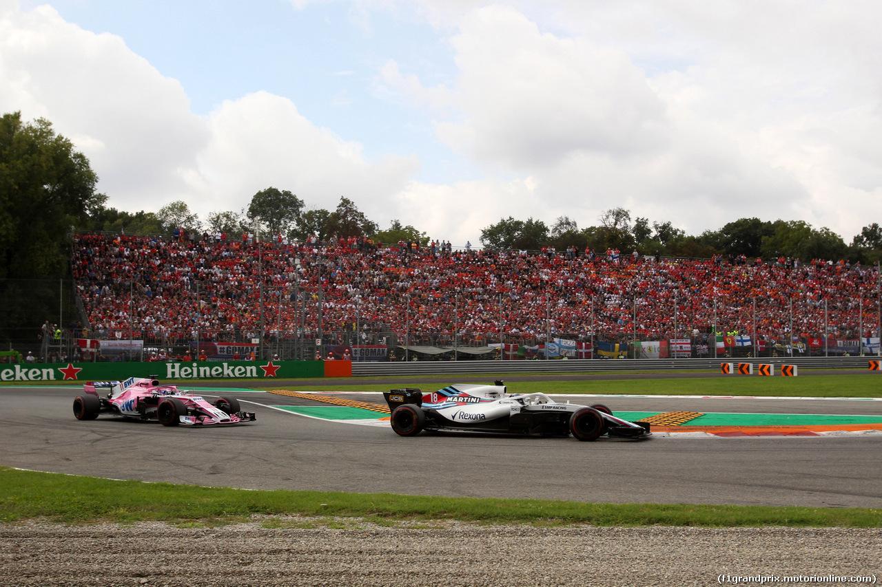 GP ITALIA, 02.09.2018 - Gara, Sergio Perez (MEX) Racing Point Force India F1 VJM11 e Lance Stroll (CDN) Williams FW41