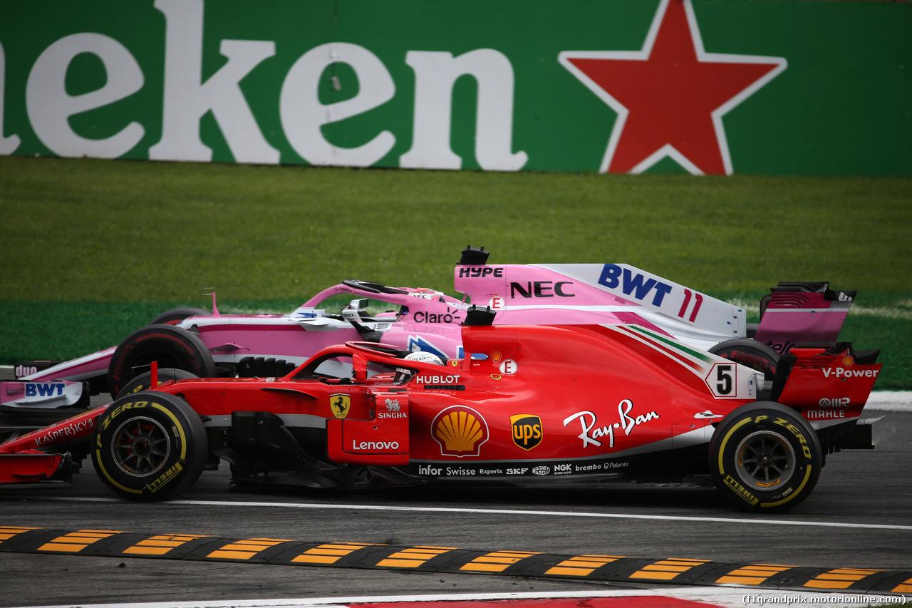 GP ITALIA, 02.09.2018 - Gara, Sebastian Vettel (GER) Ferrari SF71H e Sergio Perez (MEX) Racing Point Force India F1 VJM11