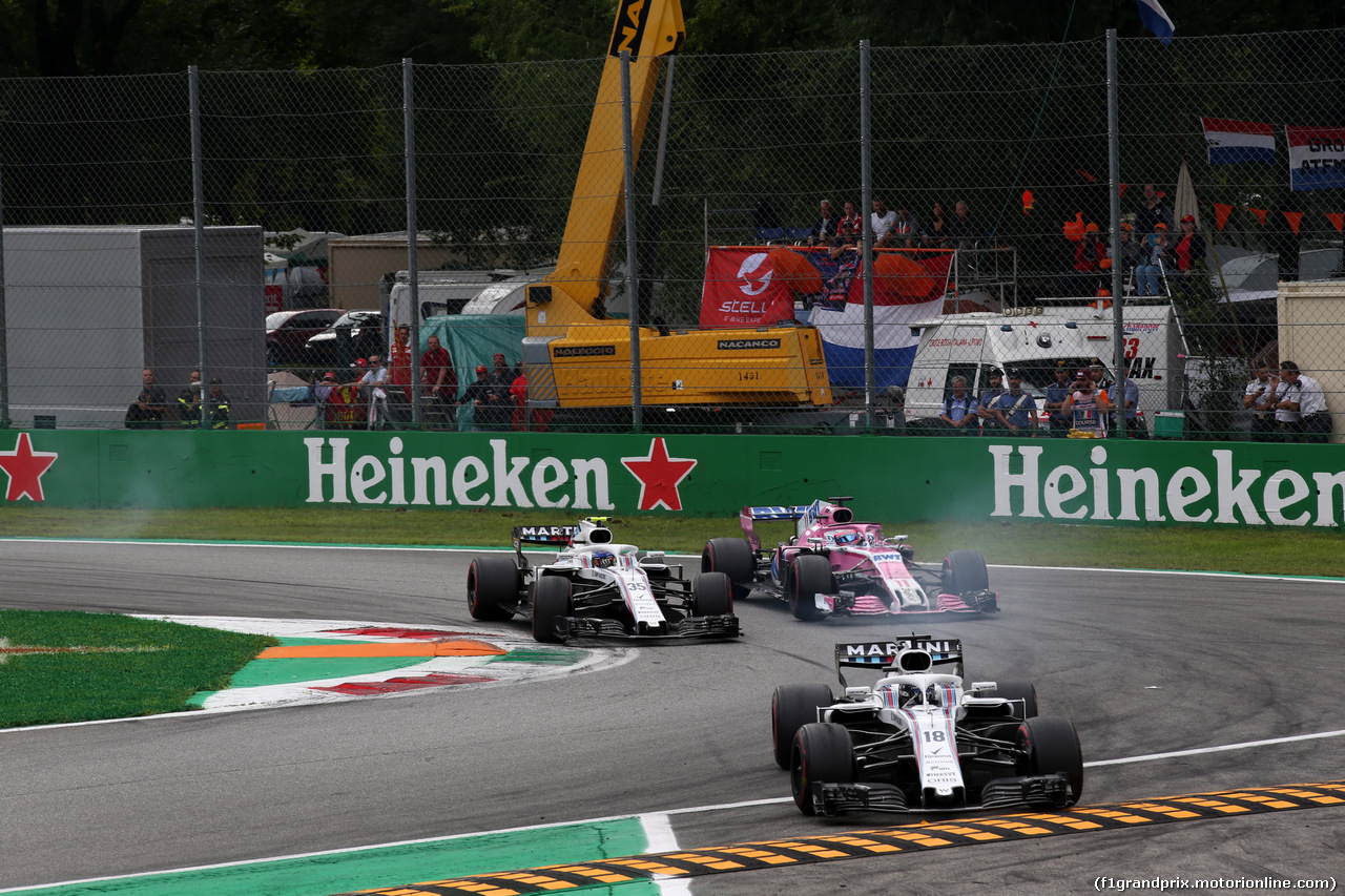GP ITALIA, 02.09.2018 - Gara, Lance Stroll (CDN) Williams FW41 davanti a Sergey Sirotkin (RUS) Williams FW41 e Sergio Perez (MEX) Racing Point Force India F1 VJM11