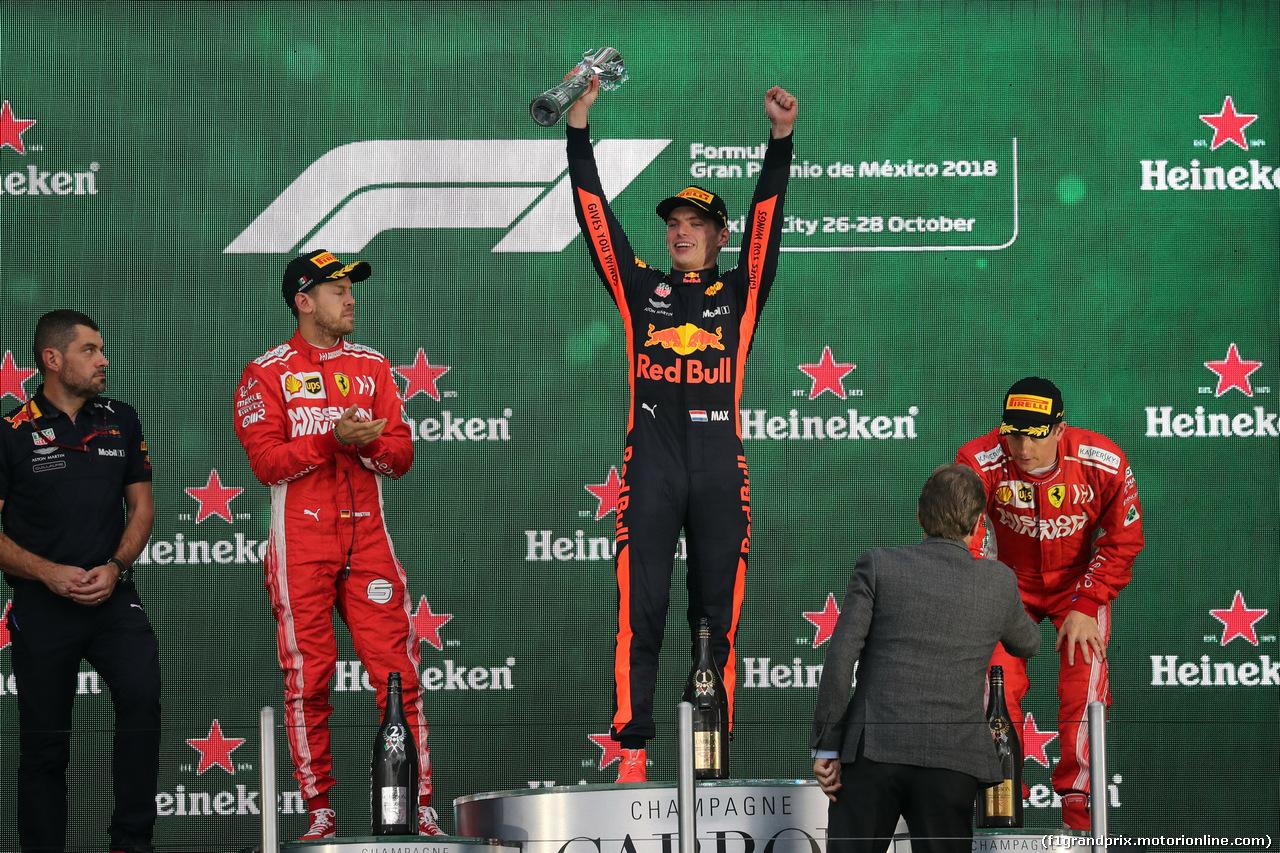 GP MESSICO, 28.10.2018 - Gara, 2nd place Sebastian Vettel (GER) Ferrari SF71H, Max Verstappen (NED) Red Bull Racing RB14 vincitore e 3rd place Kimi Raikkonen (FIN) Ferrari SF71H