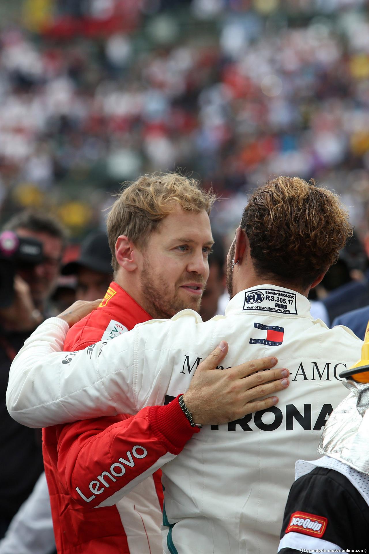 GP MESSICO, 28.10.2018 - Gara, Lewis Hamilton (GBR) Mercedes AMG F1 W09, F1 2018 champion with Sebastian Vettel (GER) Ferrari SF71H