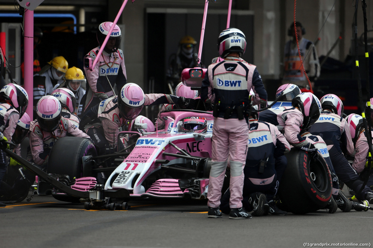 GP MESSICO, 28.10.2018 - Gara, Pit stop, Sergio Perez (MEX) Racing Point Force India F1 VJM11