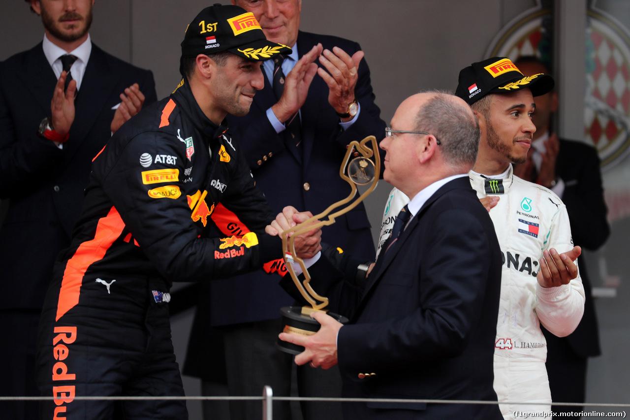GP MONACO, 27.05.2018 - Gara, Daniel Ricciardo (AUS) Red Bull Racing RB14 vincitore e S.A.S. Prince Albert II