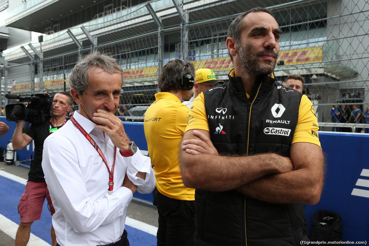 GP RUSSIA, 30.09.2018 - Gara, Alain Prost (FRA) Renault Sport F1 Team Special Advisor e Cyril Abiteboul (FRA) Renault Sport F1 Managing Director