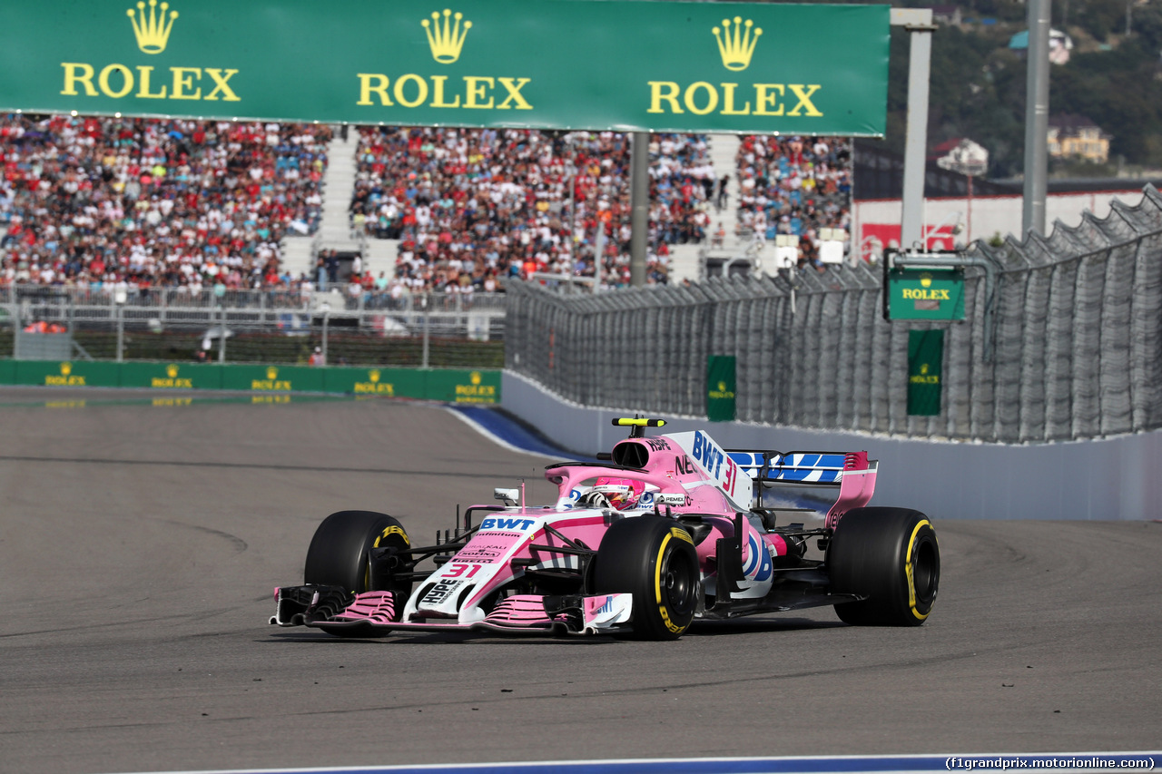 GP RUSSIA, 30.09.2018 - Gara, Esteban Ocon (FRA) Racing Point Force India F1 VJM11