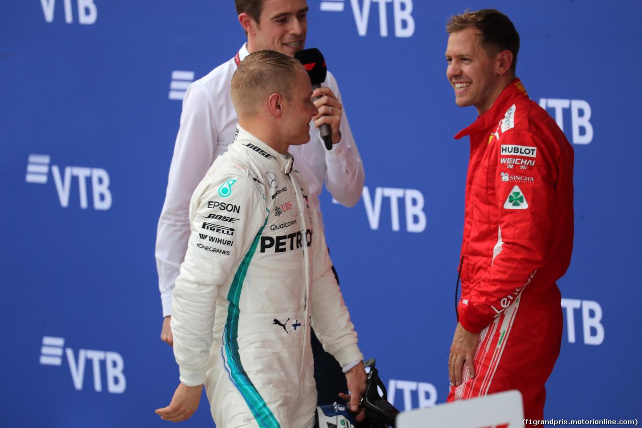 GP RUSSIA, 30.09.2018 - Gara, 2nd place Valtteri Bottas (FIN) Mercedes AMG F1 W09 e 3rd place Sebastian Vettel (GER) Ferrari SF71H