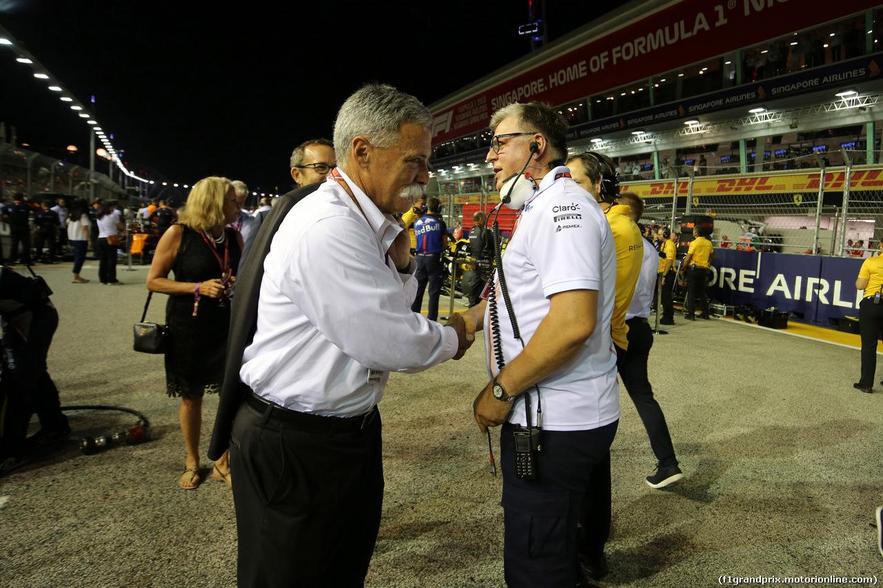 GP SINGAPORE, 16.09.2018 - Gara, Chase Carey (USA) Formula One Group Chairman e Otmar Szafnauer (USA) Racing Point Force India F1 Team Chief Operating Officer