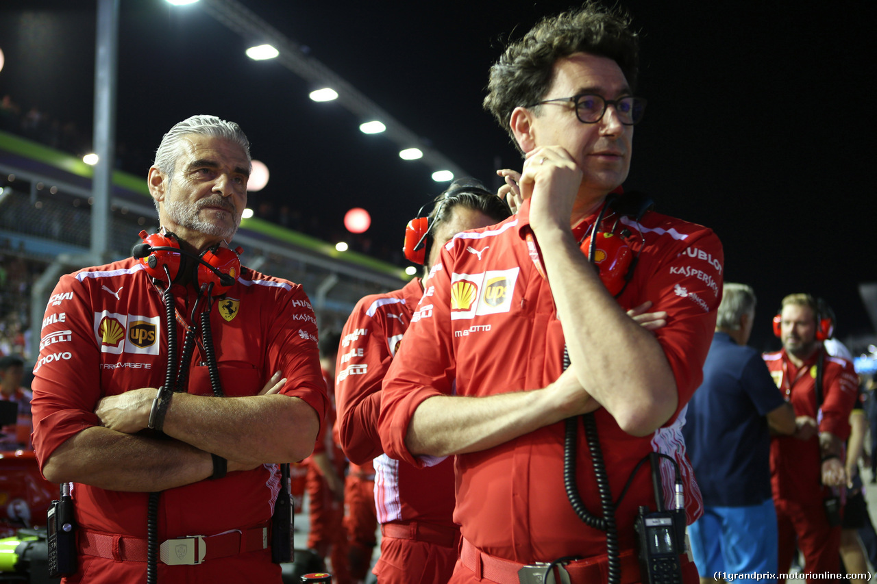 GP SINGAPORE, 16.09.2018 - Gara, Maurizio Arrivabene (ITA) Ferrari Team Principal e Mattia Binotto (ITA) Chief Technical Officer, Ferrari