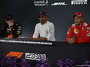 GP SINGAPORE, 15.09.2018 - Qualifiche, Conferenza Stampa, Max Verstappen (NED) Red Bull Racing RB14, Lewis Hamilton (GBR) Mercedes AMG F1 W09 e Sebastian Vettel (GER) Ferrari SF71H