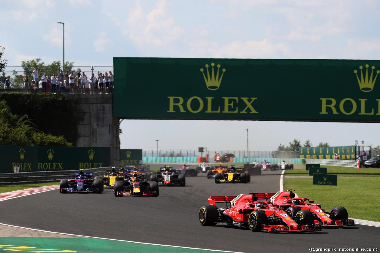 GP UNGHERIA, 29.07.2018 - Gara, Sebastian Vettel (GER) Ferrari SF71H e Kimi Raikkonen (FIN) Ferrari SF71H