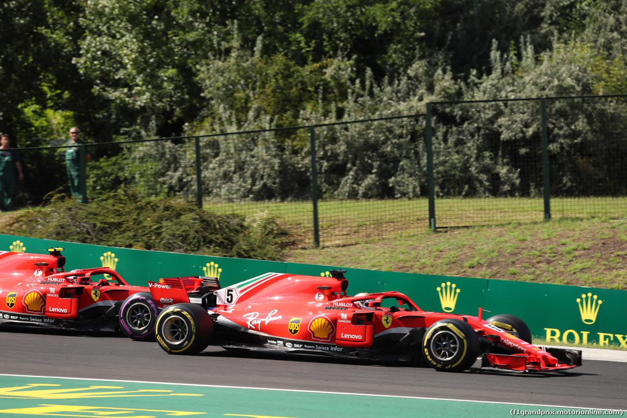 GP UNGHERIA, 29.07.2018 - Gara, Kimi Raikkonen (FIN) Ferrari SF71H e Sebastian Vettel (GER) Ferrari SF71H