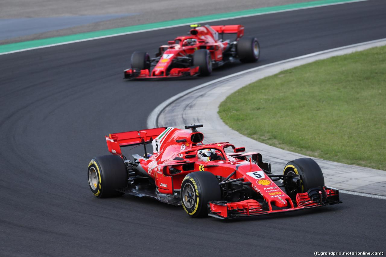 GP UNGHERIA, 29.07.2018 - Gara, Sebastian Vettel (GER) Ferrari SF71H davanti a Kimi Raikkonen (FIN) Ferrari SF71H