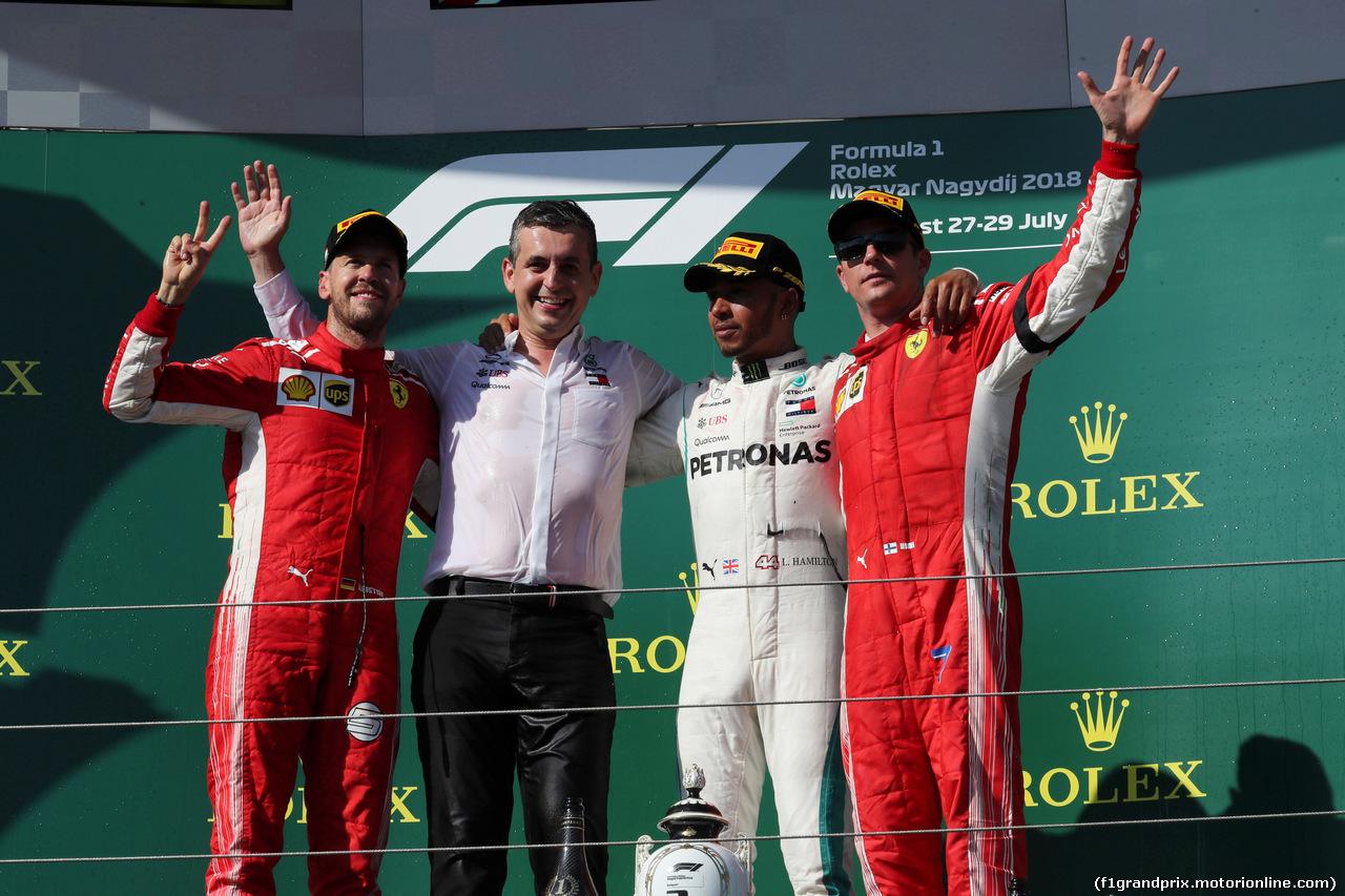 GP UNGHERIA, 29.07.2018 - Gara, 2nd place Sebastian Vettel (GER) Ferrari SF71H, Lewis Hamilton (GBR) Mercedes AMG F1 W09 vincitore e 3rd place Kimi Raikkonen (FIN) Ferrari SF71H