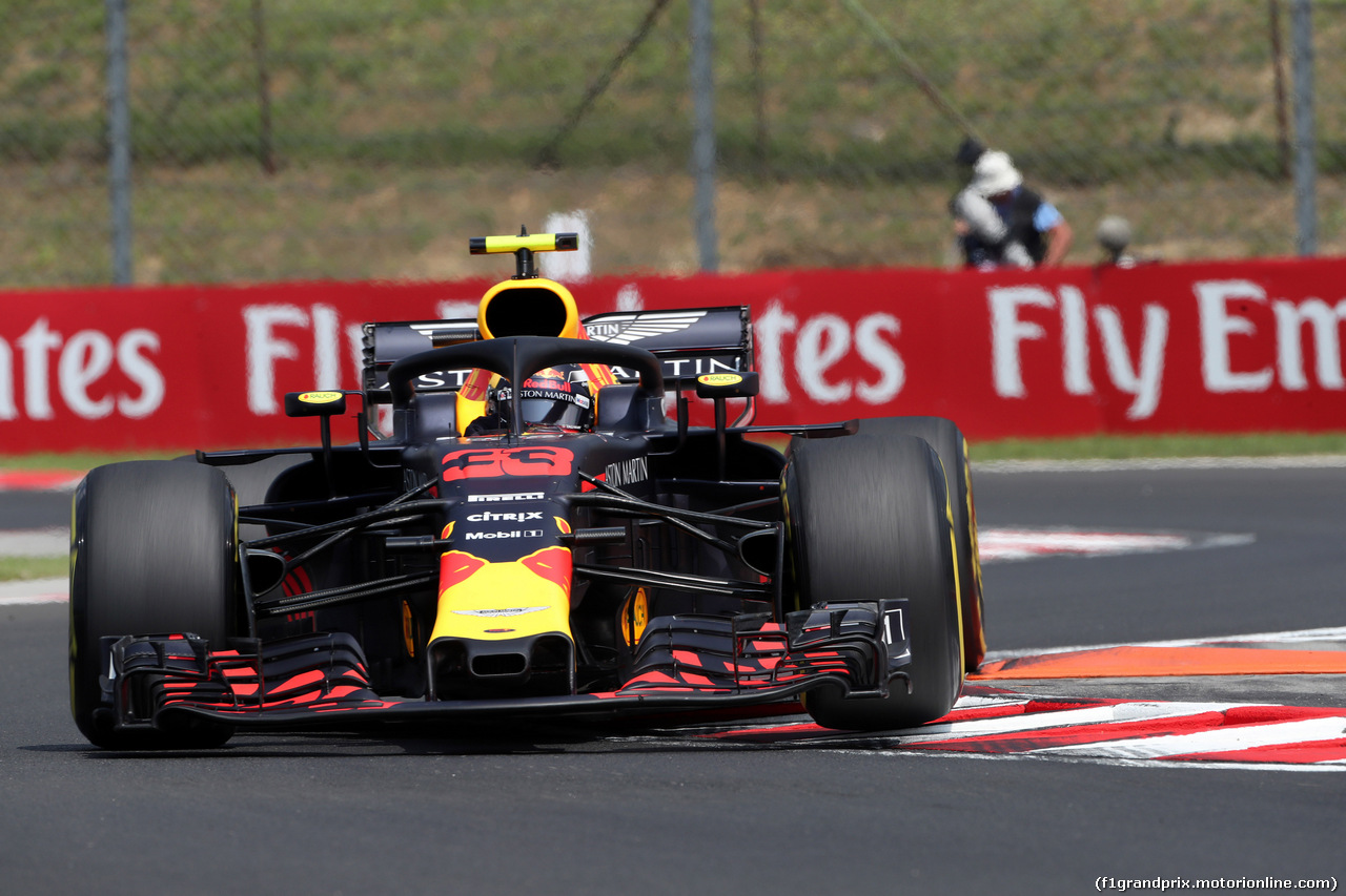 GP UNGHERIA, 27.07.2018 - Prove Libere 1, Max Verstappen (NED) Red Bull Racing RB14