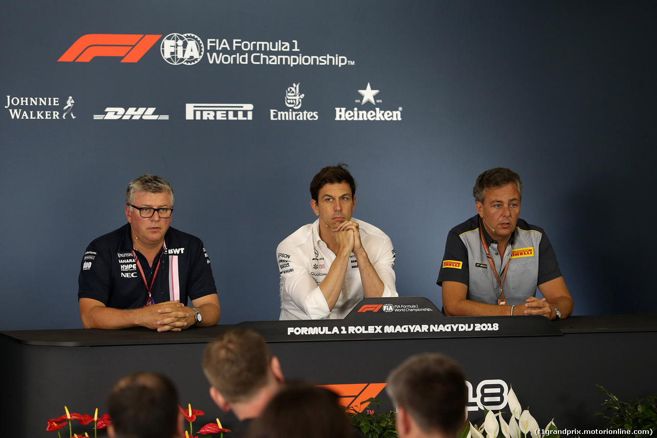 GP UNGHERIA, 27.07.2018 - Conferenza Stampa, Otmar Szafnauer (USA) Sahara Force India F1 Chief Operating Officer, Toto Wolff (GER) Mercedes AMG F1 Shareholder e Executive Director e Mario Isola (ITA), Pirelli Racing Manager