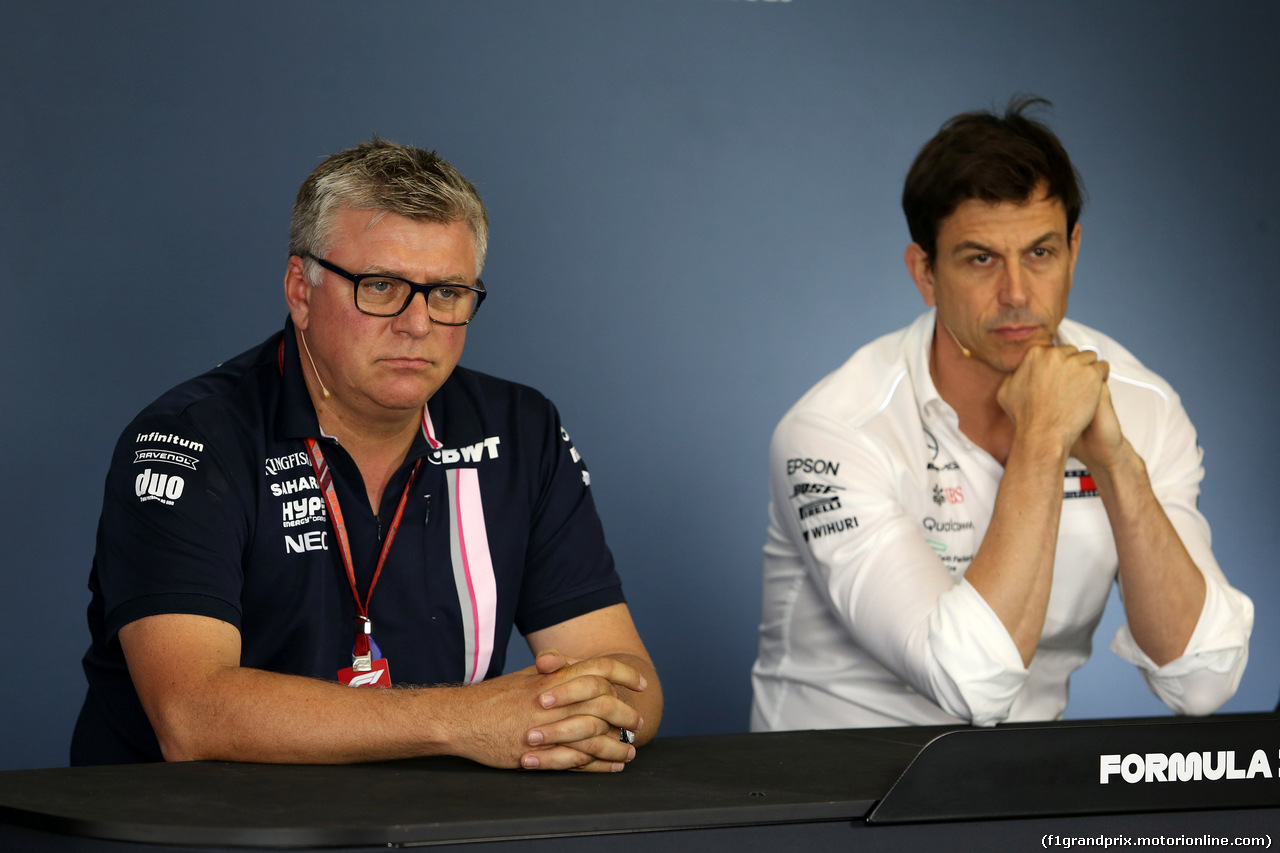 GP UNGHERIA, 27.07.2018 - Conferenza Stampa, Otmar Szafnauer (USA) Sahara Force India F1 Chief Operating Officer e Toto Wolff (GER) Mercedes AMG F1 Shareholder e Executive Director