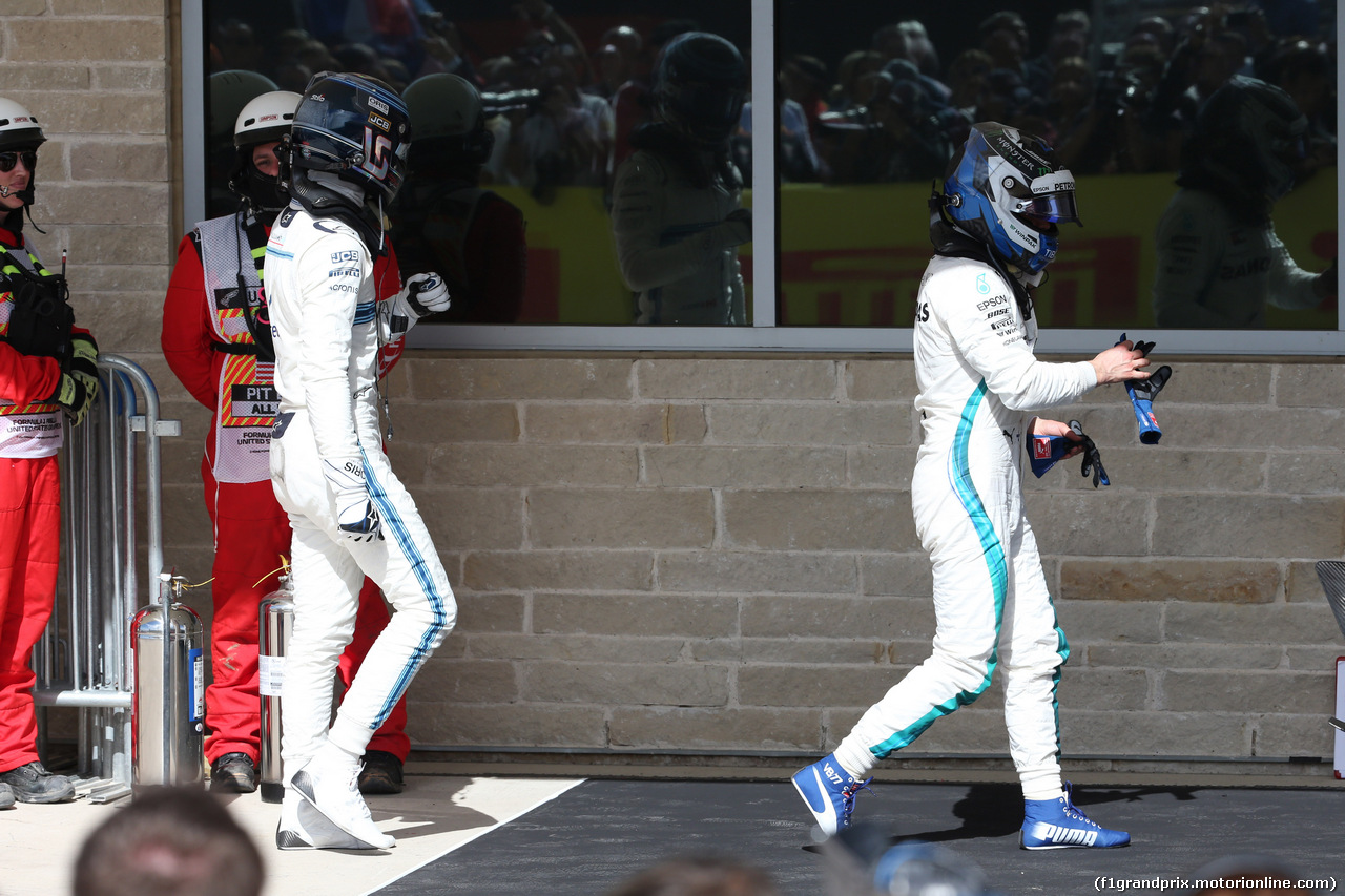 GP USA, 21.10.2018- Parc ferm, Valtteri Bottas (FIN) Mercedes AMG F1 W09 e Lance Stroll (CDN) Williams FW41
