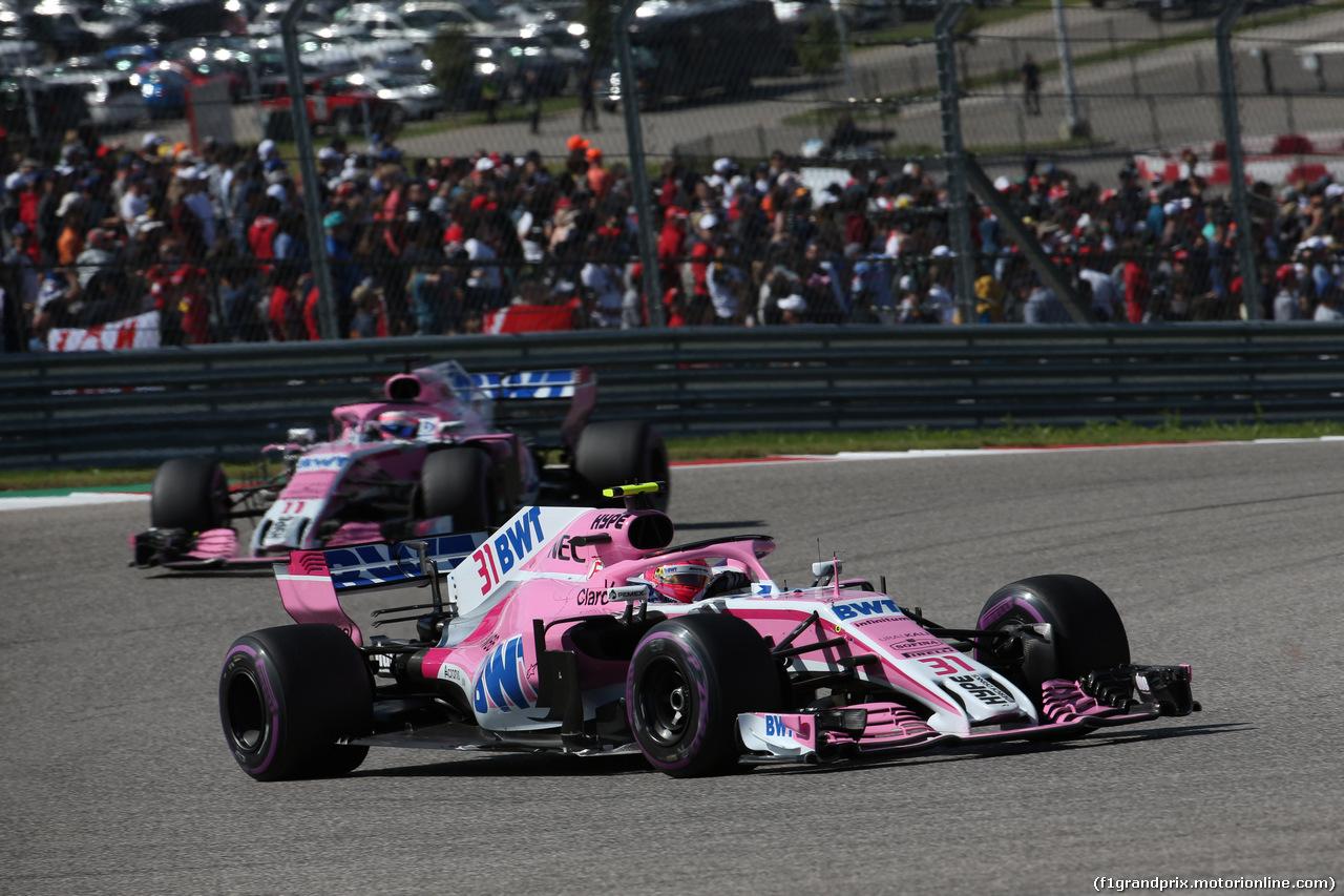 GP USA, 21.10.2018- Gara, Esteban Ocon (FRA) Racing Point Force India F1 VJM11