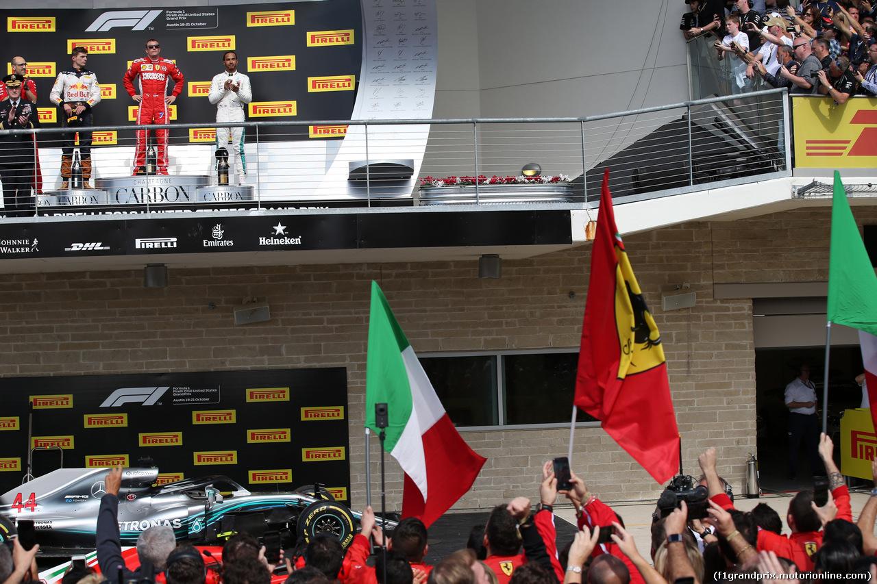 GP USA, 21.10.2018- Podium, winner Kimi Raikkonen (FIN) Ferrari SF71H, 2nd place Max Verstappen (NED) Red Bull Racing RB14 e 3rd place Lewis Hamilton (GBR) Mercedes AMG F1 W09