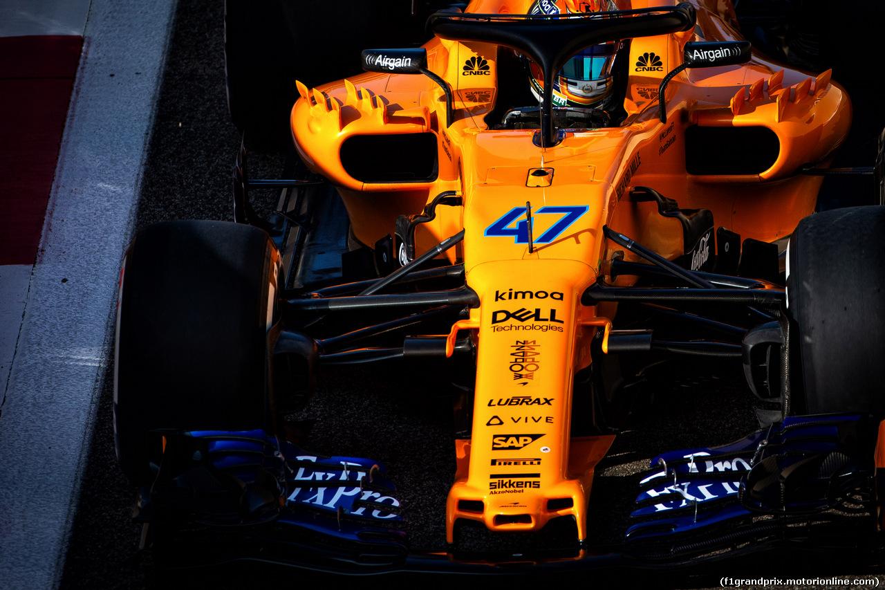 TEST F1 ABU DHABI 27 NOVEMBRE, Lando Norris (GBR) McLaren MCL33 Test Driver. 27.11.2018.