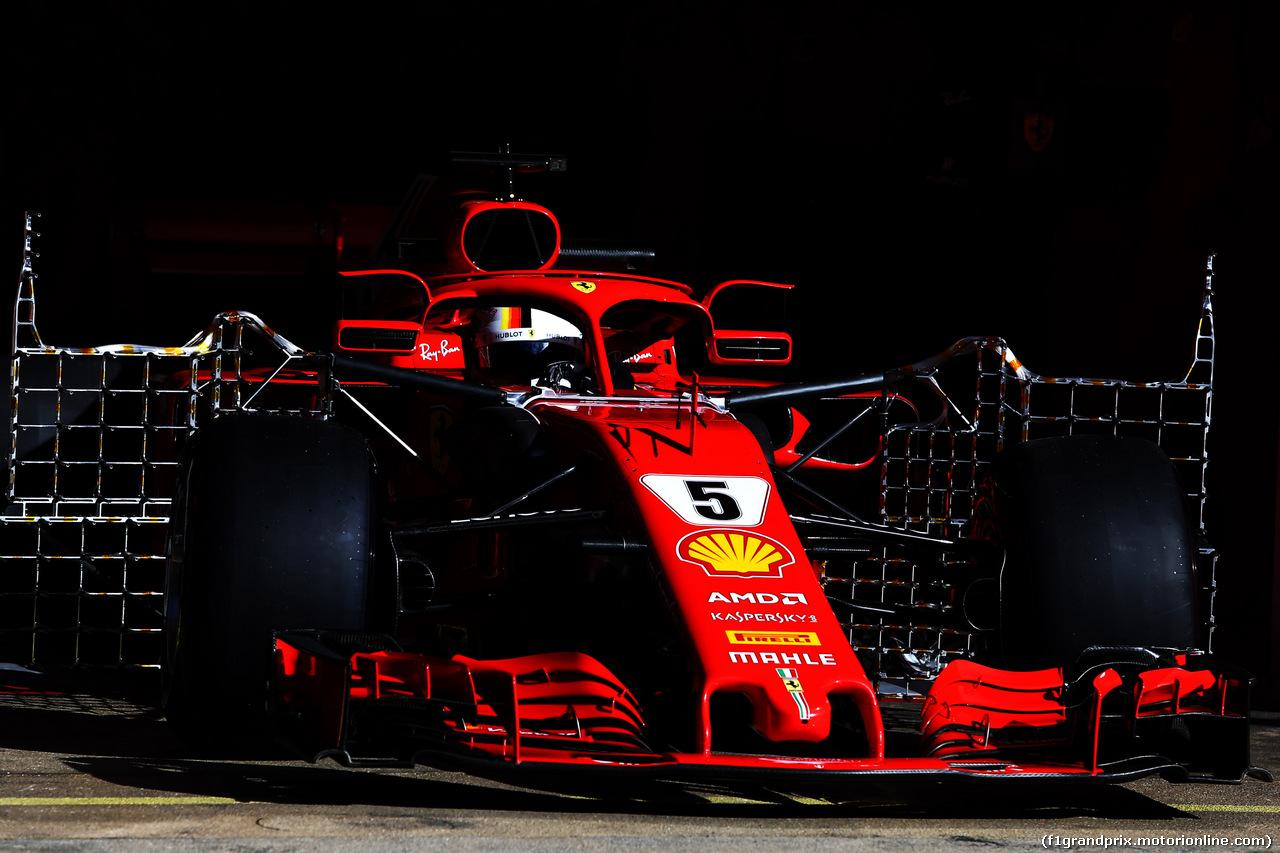 TEST F1 BARCELLONA 15 MAGGIO, Sebastian Vettel (GER) Ferrari SF71H running sensor equipment. 15.05.2018.
