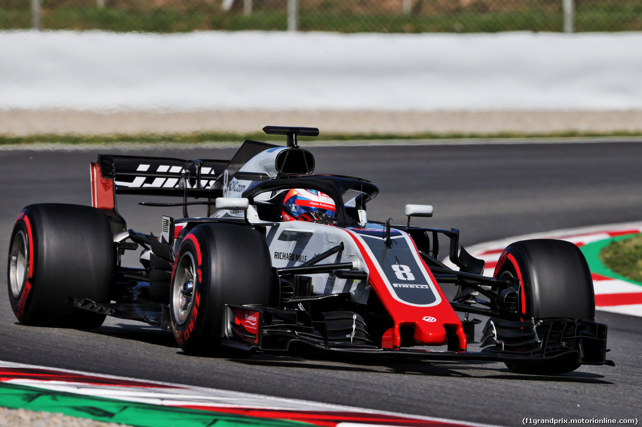 TEST F1 BARCELLONA 15 MAGGIO, Romain Grosjean (FRA) Haas F1 Team VF-18. 15.05.2018.