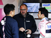 TEST F1 BARCELLONA 1 MARZO, (L to R): Jun Matsuzaki (JPN) Sahara Force India F1 Team Senior Tyre Engineer with Tom McCullough (GBR) Sahara Force India F1 Team Chief Engineer e Sergio Perez (MEX) Sahara Force India F1. 01.03.2018.